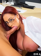 Gorgeous curvy Brazzers model calls up a well hung stud for some nasty banging in the office