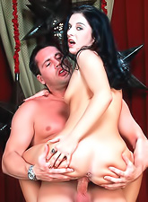 Foxy brunette bitch Renee Pornero takes her black dress off and gets rammed hard.