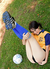 Even when playing football Ariel Rebel finds a way to show her body and dirty nature.