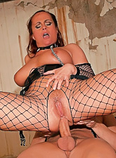 Katy Parker takes her sexy black fishnet lingerie off and fucks with a myster man.