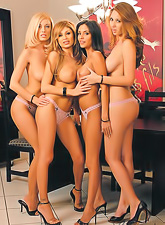 Horny lesbo gals Shay Laren Lisa Daniels Anita Dark and Mindy Vega have group sex.