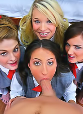 Faye Reagan, Lily Carter, Lizz Taylor and Teagan Summers sharing a big cock.