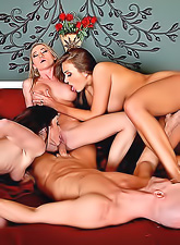 Madison Scott, Jennifer White and Nika Noir getting naked and sharing a cock.