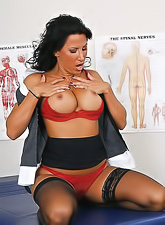 Lezley Zen gets off her tight skirt and red undies adn gets her pussy fucked.