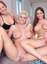 These three lesbo bitches with huge titties are so nasty. They just want to please their cunts