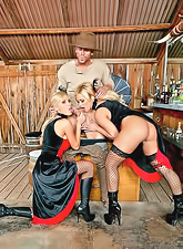 Frisky Nikki Benz and Shyla Stylez take one dick into their holes by turns.