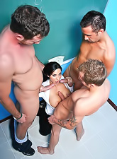 Frisky Veronica Rayne believes that only three hot students can serve her wet holes.
