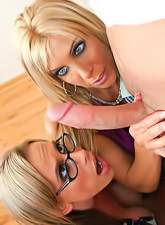 Kylie Worthy and Misty Vonage play nasty with each other and share one cock.