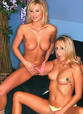 Two hot babes, Ashley Jensen and Brooke Belle getting naked and sharing a cock.