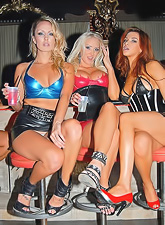 Slutty club bitches Molly Cavalli Kiara Diane Sabrina Maree get drunk and have sex.