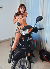 Randy brunette Mariah Spice with sexy ass stripping lace undies and posing on bike.