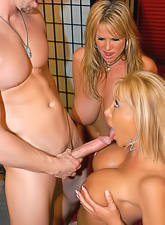 Stunning Misty Vonage and Kelly Madison please each other and one dude at once.