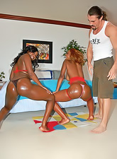 Hot ebony hoes Alina Sabrina and Amile Waters are having threesome with one dude.