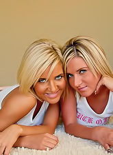 Foxy blonde model Princess Cameron makes out with her lusty lesbo playmate.