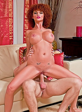 Joslyn James spreads her sexy long legs and rides her lover's big throbbing dong.