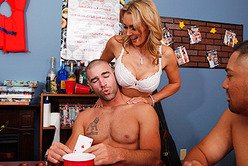 Foxy busty blonde babe Tanya Tate sucks hard cock and then gets pumped on the bed.