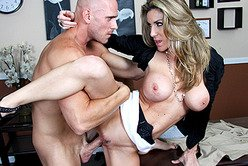 Busty blonde boss Kayla Paige seduces her coworker and gets fucked by his cock.