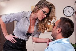Big breasted blonde office slut Kayla Paige moans hard as she gets rammed from behind