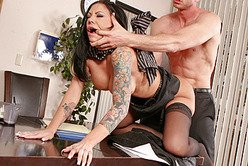 Classy brunette hoe Mason Moore gets rammed hard in sexy black lingerie and stockings
