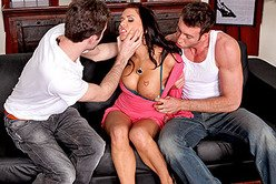 Slutty brunette pornstar bitch Eva Angelina gets roughly pounded by two hung guys.