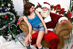 Good looking teen babe Lexi Bloom gets fucked hard by a naughty horny santa.