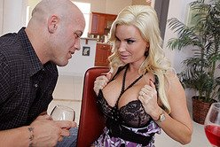 Classy busty blonde Diamond Foxxx strips her black dress and gets rammed hard.