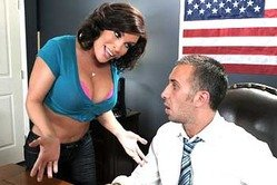 Busty brunette bitch Diamond Foxxx screams hard as she gets fucked on the table.
