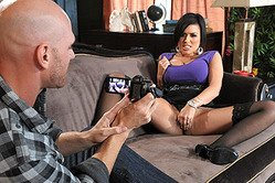Classy pornstar babe Eva Angelina gets rammed wearing sexy black nylon stockings.