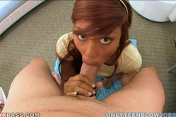 Leilani Leeane goes down on her knees and gives her hung lover a good blowjob.