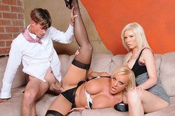 Alexis Golden and Kenzi Marie strip together on the sofa and have a threesome.