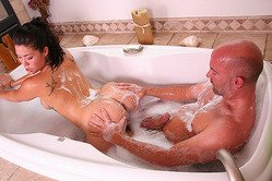 Adorable little Asian lady with curves gets fucked in the bathtub by her well hung partner
