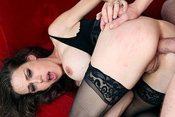 Huge dick from behind for a beautiful long haired darling in black stockings, she's loving it