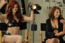 Elle Alexandra Lexi Bloom strip in the limo and then have amazing lesbian threesome