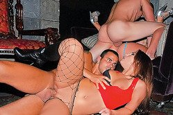 Kinky blonde slut Katie Summers gets fucked in the club wearing fishnets and boots.
