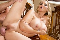 Julia Ann takes her classy expensive dress off and gets her pussy drilled hard