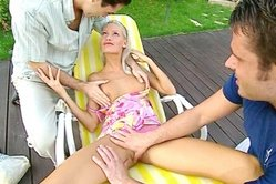 Skinny blonde having tiny tits is getting presented with unforgettable double penetration outdoors
