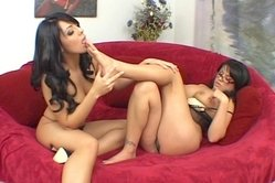 Eva Angelina and Lorena Sanchez strip together on the sofa and have amazing sex