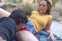 Sasha Knox goes down on her knees for her lover and slurps on big stiff meat rod