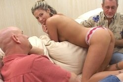 Awesome madam having white hair is deepthroating penis and massaging balls with pleasure