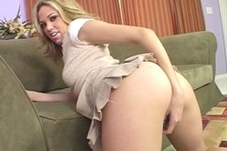 Super hot blondie with small boobies sucks a dong and rides it later in a close up scene