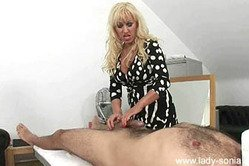 Lady Sonia strips her dress before the camera and gets her pussy drilled hard