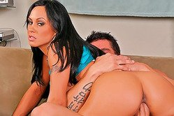 Foxy brunette gal Mariah Milano strips her clothes and gets rammed from bheind.