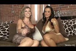 Sara Jay and her slutty friend strip together on the sofa and have intensive hot sex