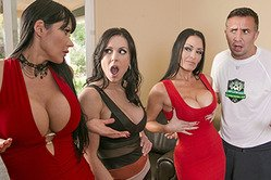 Well endowed lucky guy ends up in a fantastic foursome with three totally stunning babes