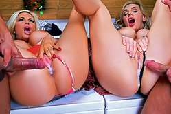 Big breasted blonde babe Tanya Tate and her hot friend share one big fat cock.