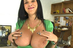 Bella Blaze takes her top off, shows her huge melons and wanks a huge hard boner.