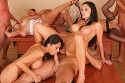 Aletta Ocean Alison Star Sarah Simon and Manuella have passionate group sex.
